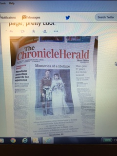 We landed a front page article (with a 69 year old wedding photo) with John A. (Jock) McStay, a Seaforth Highlander of Canada veteran and Porters Lake resident, will left on Thursday, April 30th to join the Ministry of Veterans Affairs Official Delegation in celebration of the 70th Anniversary of the Liberation of the Netherlands.