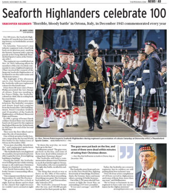 Seaforth Highlanders Celebrate 100 Years 2010